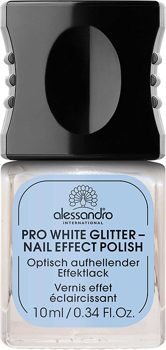 Alessandro Отбеливающий лак для ногтей Pro White Glitter - Nail Effect Polish, сверкающий, 10 мл alessandro отбеливающий лак для ногтей pro white glitter nail effect polish сверкающий 10 мл