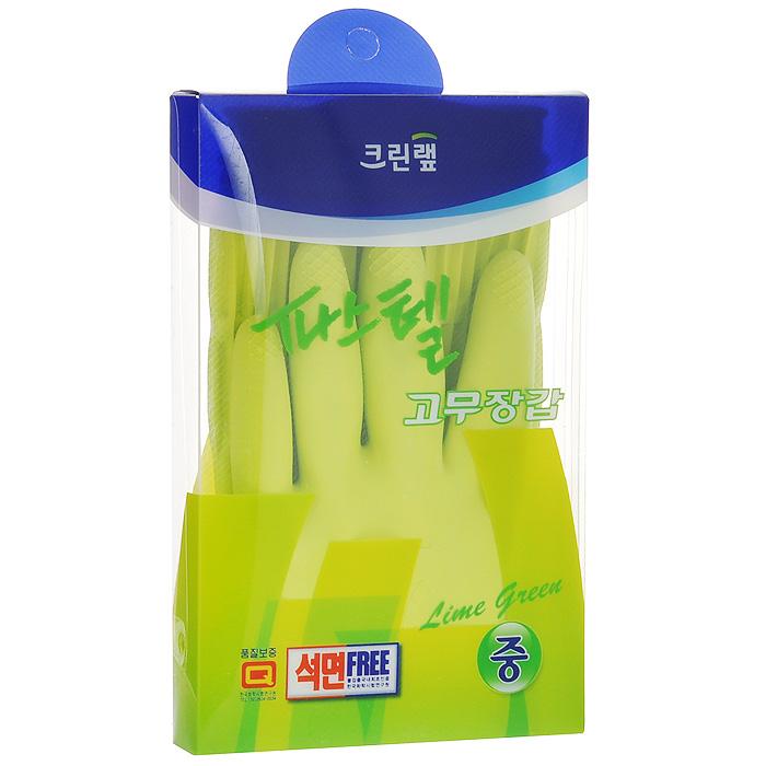 Перчатки хозяйственные Clean Wrap Latex Glove, цвет: салатовый. Размер M2102_синийХозяйственные перчатки Clean Wrap Latex Glove предохраняют кожу рук от загрязнения и влаги, они идеально подходят для стирки, уборки и прочих работ по хозяйству (в доме, на кухне, в саду). Метод двойного покрытия делает перчатки более гигиеничными и удобными. Защищает руки благодаря специальному защитному компоненту на внутренней поверхности перчаток. При изготовлении перчаток используется 100% натуральный латекс, который сохраняет мягкость и прочность при использовании, как в горячей, так и в холодной воде, и зимой при низких температурах. Эргономичный дизайн позволяет перчаткам удобно прилегать к рукам, создавая удобство в использовании и не натирая кожу. Обеспечивают комфорт рукам, благодаря контролирующему влажность покрытию. Превосходные водоотталкивающие и быстросохнущие свойства позволяют перчаткам хорошо держаться на руках и легко сниматься даже в намоченном состоянии. Поверхность пальцев и ладони рифленая.