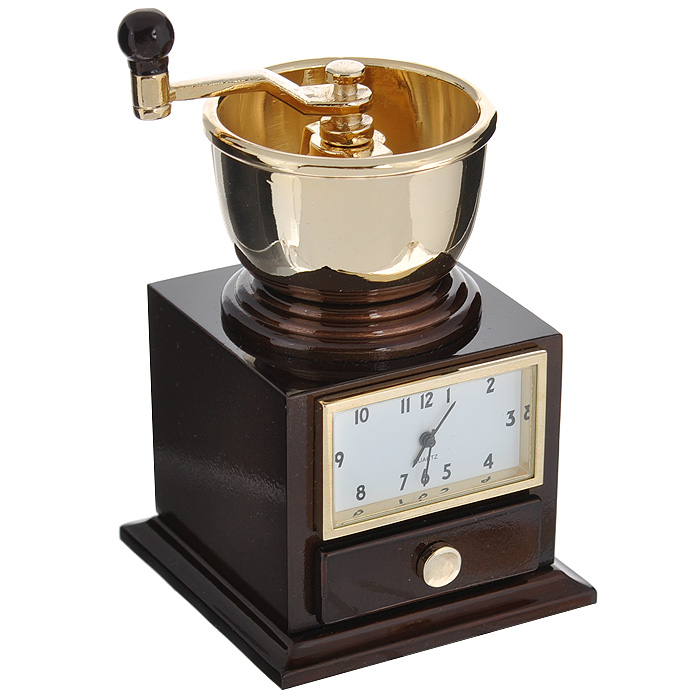 Часы настольные Кофемолка, цвет: коричневый, золотой. 2241594672Оригинальный дизайн настольных часов Кофемолка разработан в классическом стиле, с учетом современных тенденций оформления интерьеров. Выполненные из металлического сплава в виде ручной кофемолки, эти часы, несомненно, будут привлекать к себе внимание.Часы с кварцевым механизмом работают плавно и бесшумно и требуют лишь примерно раз в год замены батарейки. На циферблате имеются часовая, минутная и секундная стрелки. Есть возможность подведения стрелок. Такие часы легко впишутся в любой интерьер и станут великолепным подарком! Характеристики:Материал: металл (сплав цинка).Цвет: коричневый, золотой.Размер часов: 4,5 см х 6,5 см х 4,5 см.Размер циферблата: 3 см х 1,7 см. Размер упаковки: 9,5 см х 5,5 см х 7 см.Артикул: 22415.