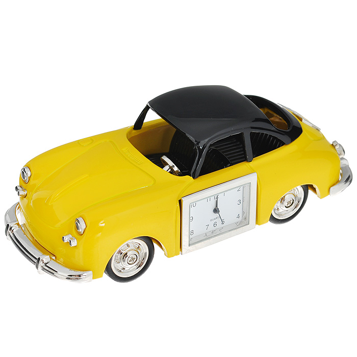 Часы настольные Ретро автомобиль, цвет: желтый. 22422589196Оригинальный дизайн настольных часов Ретро автомобиль разработан с учетом современных тенденций оформления интерьеров. Выполненные из металлического сплава в виде желтого авто, эти часы, несомненно, будут привлекать к себе внимание.Часы с кварцевым механизмом работают плавно и бесшумно и требуют лишь примерно раз в год замены батарейки. На циферблате имеются часовая, минутная и секундная стрелки. Такие часы легко впишутся в любой интерьер и станут великолепным подарком! Характеристики:Материал: металл (сплав цинка), стекло.Цвет: желтый.Размер часов: 12 см х 5 см х 3,5 см.Размер циферблата: 2,5 см х 1,6 см. Размер упаковки: 10,5 см х 7,5 см х 6,5 см.Артикул:22422.