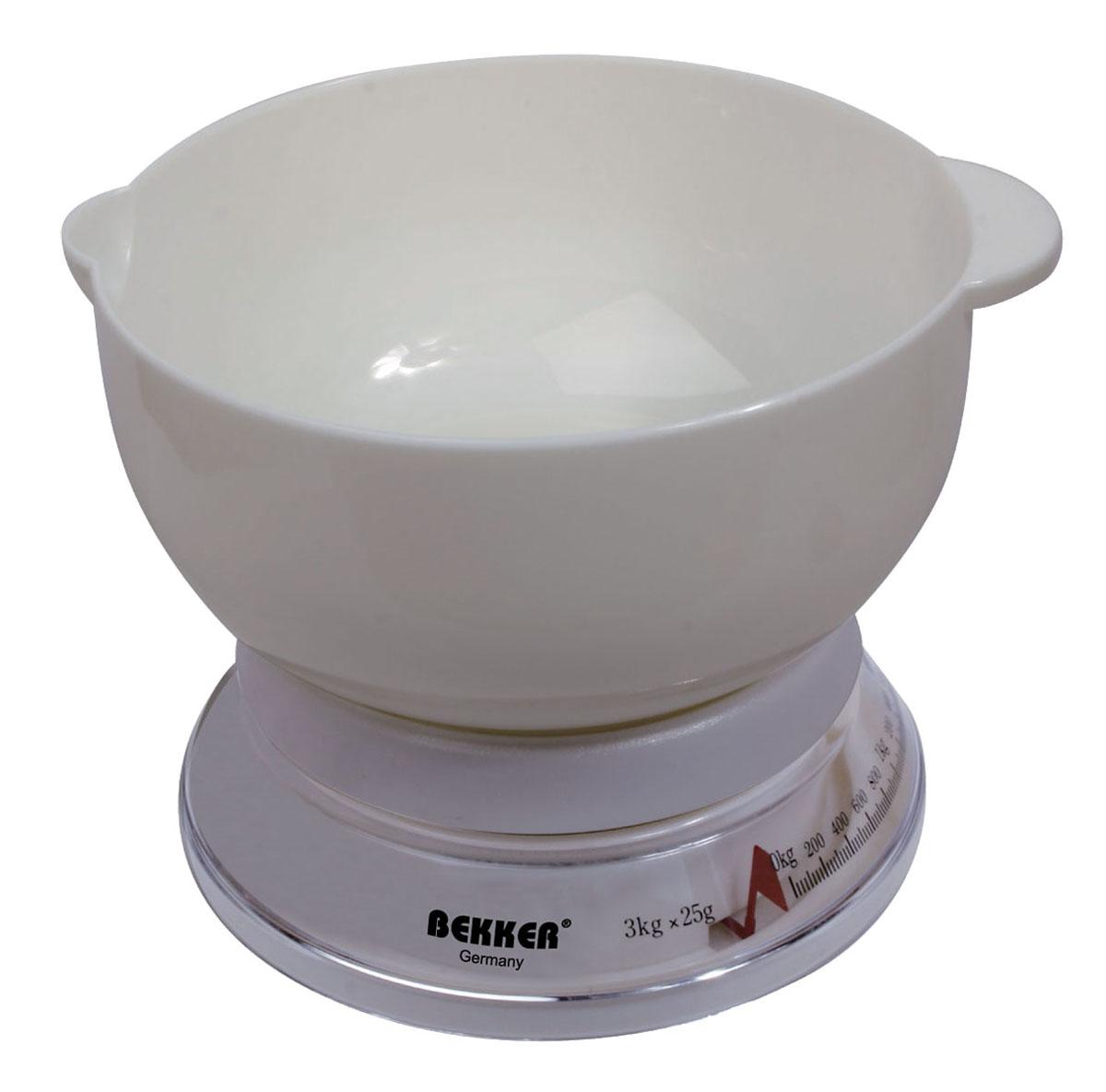Весы кухонные Bekker BK-23, до 3 кгKS5006PD RedУдобные и практичные кухонные весы Bekker BK-23 обеспечивают высокую точность измерений. Весы выполнены пластика и легко впишутся в любой современный кухонный интерьер. Характеристики:Материал: пластик, металл. Объем чаши: 2 л. Цена деления: 25 г. Размер упаковки: 19 см х 19 см х 9 см. Артикул: BK-23.