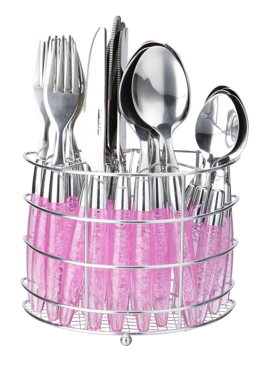 Набор столовых приборов Bekker Koch, цвет: розовый, 25 предметов. BK-3300FS-91909Набор столовых приборов Bekker выполнен из коррозионностойкой стали и высококачественного пластика. В набор входит 25 предметов: 6 обеденных ножей, 6 обеденных ложек, 6 обеденных вилок, 6 чайных ложек и металлическая подставка. Приборы имеют оригинальные удобные ручки с пластиковыми вставками. Прекрасное сочетание свежего дизайна и удобство использования предметов набора придется по душе каждому. Набор столовых приборов Bekker подойдет для сервировки стола, как дома, так и на даче и всегда будет важной частью трапезы, а также станет замечательным подарком. Характеристики:Материал: металл, пластик. Цвет: синий. Длина ножа: 22 см. Длина столовой ложки:21 см. Длина вилки: 21 см. Длина чайной ложки:15 см. Размер подставки: 17 см x 12 см x 8 см. Размер упаковки: 21 см х 24 см х 9 см. Артикул: BK-3300.