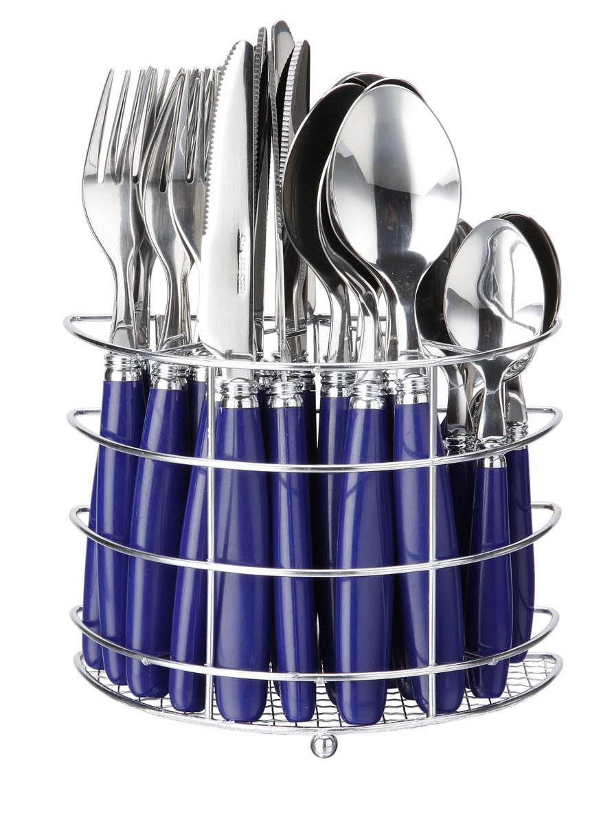 Набор столовых приборов Bekker Koch, цвет: синий, 25 предметов. BK-330324919Набор столовых приборов Bekker выполнен из коррозионностойкой стали и высококачественного пластика. В набор входит 25 предметов: 6 обеденных ножей, 6 обеденных ложек, 6 обеденных вилок, 6 чайных ложек и металлическая подставка. Приборы имеют оригинальные удобные ручки с пластиковыми вставками. Прекрасное сочетание свежего дизайна и удобство использования предметов набора придется по душе каждому. Набор столовых приборов Bekker подойдет для сервировки стола, как дома, так и на даче и всегда будет важной частью трапезы, а также станет замечательным подарком. Характеристики:Материал: металл, пластик. Цвет: синий. Длина ножа: 22 см. Длина столовой ложки:21 см. Длина вилки: 21 см. Длина чайной ложки:15 см. Размер подставки: 17 см x 12 см x 8 см. Размер упаковки: 21 см х 24 см х 9 см. Артикул: BK-3303.