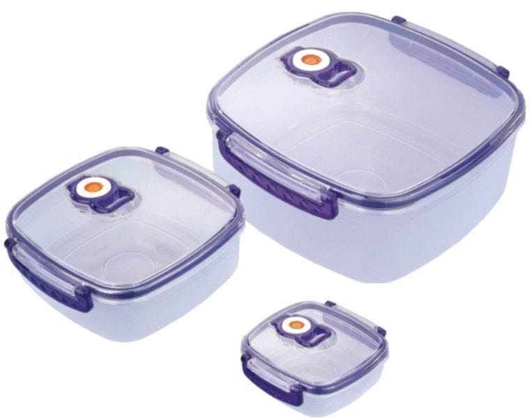 Набор вакуумных контейнеров Bekker с крышками, 3 шт. BK-51014630003364517Набор Bekker состоит из трех квадратных контейнеров с крышками, выполненных из пищевого пластика. Крышки оснащены удобными ручками, с помощью которых изделия плотно закрываются. Благодаря клапану внутри контейнеров создается вакуум, не пропускающий лишний воздух. Именно поэтому продукты в вакуумных контейнерах дольше сохраняют свежесть. Изделия складываются друг в друга, поэтому их просто хранить, и они не займут много места на вашей кухне. Изделия пригодны для использования в микроволновой печи и для хранения в морозильной камере и холодильнике. Характеристики:Материал: пластик. Комплектация: 3 шт. Объем: 2280 мл, 920 мл, 330 мл. Размер контейнеров (по верхнему краю): 19 см х 19 см, 15 см х 15 см, 11 см х 11 см. Высота стенки: 8 см, 5 см, 3,5 см. Размер упаковки: 21,5 см x 20,5 см x 10 см. Артикул: BK-5101.