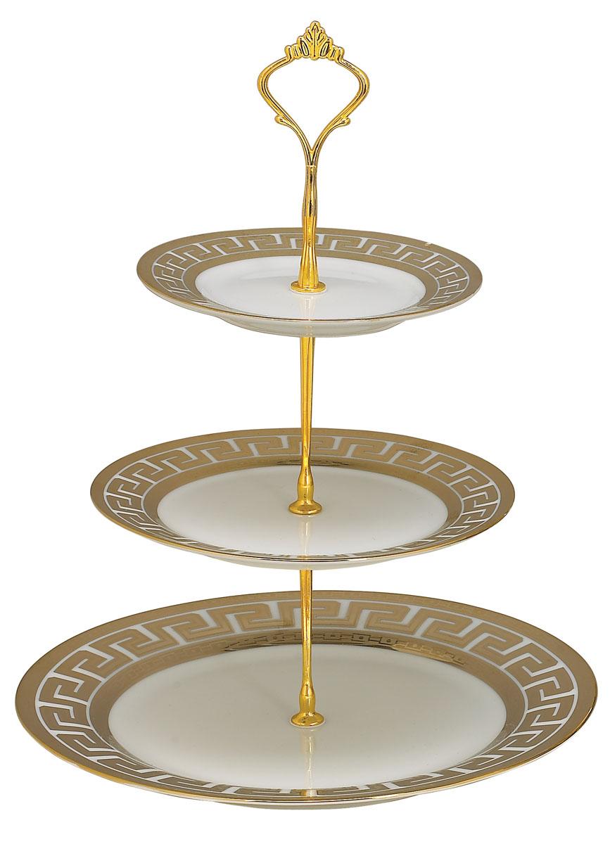 Ваза для фруктов Bekker BK-7501, 3 яруса115510Элегантная ваза Bekker, выполненная из фарфора, сочетает в себе изысканный дизайн с максимальной функциональностью. Ваза предназначена для красивой сервировки фруктов. Ярусы вазы оформлены красивым золотым узором. Держатель вазы выполнен из металла. Ваза для фруктов Bekker украсит сервировку вашего стола и подчеркнет прекрасный вкус хозяина, а также станет отличным подарком. Характеристики:Материал: фарфор, металл. Диаметр нижнего яруса: 27 см. Диаметр среднего яруса:19 см. Диаметр верхнего яруса:15 см. Размер упаковки: 27 см х 27 см х 4 см. Артикул:BK-7501.