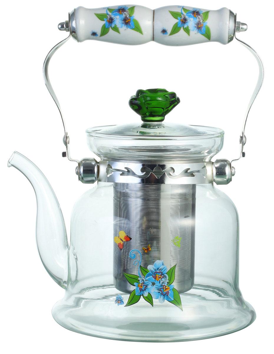 Чайник заварочный Bekker, цвет: голубые цветы, 1,4 л. BK-7620115510Заварочный чайник Bekker выполнен из жаростойкого стекла, которое хорошо удерживает тепло. Ручка и съемное ситечко внутри чайника выполнены из высококачественной нержавеющей стали. Высокая ручка чайника, снабженная фарфоровой насадкой, позволяет с легкостью удерживать его на весу. Съемное ситечко для заварки предотвращает попадание чаинок и листочков в настой. Заварочный чайник украшен изящным рисунком, что придает ему элегантность. Заварочный чайник из стекла удобно использовать для повседневного заваривания чая практически любого сорта. Но цветочные, фруктовые, красные и желтые сорта чая лучше других раскрывают свой вкус и аромат при заваривании именно в стеклянных чайниках и сохраняют полезные ферменты и витамины, содержащиеся в чайных листах. Характеристики:Материал:нержавеющая сталь, стекло, фарфор. Объем: 1,4 л. Высота чайника: 15 см. Размер упаковки: 18 см х 17,5 см х 16 см. Артикул: BK-7620.
