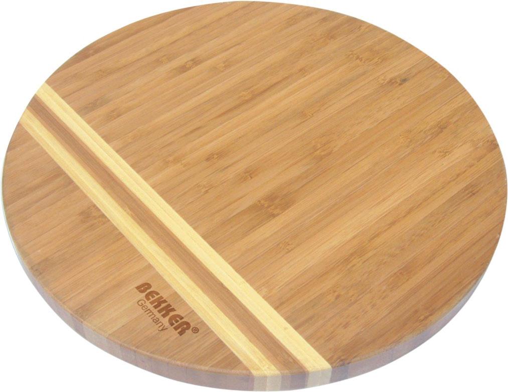 Доска разделочная Bekker, бамбуковая, диаметр 25 см. BK-972654 009312Круглая разделочная доска Bekker изготовлена из высококачественной древесины бамбука темного цвета со светлыми полосками, обладает антибактериальными свойствами. Бамбук - инновационный материал, идеально подходящий для разделочных досок. Доски из бамбука обладают высокой плотностью структуры древесины, а также устойчивы к механическим воздействиям. Функциональная и простая в использовании, разделочная доска Bekker прекрасно впишется в интерьер любой кухни и прослужит вам долгие годы. Характеристики: Материал: бамбук. Диаметр доски: 25 см. Толщина: 1,8 см. Артикул: BK-9726.