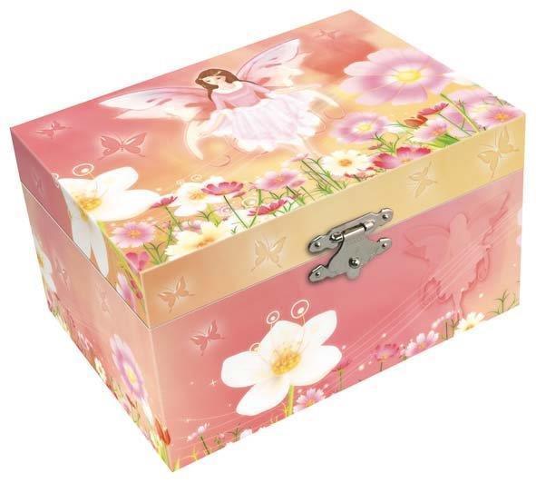 Музыкальная шкатулка «Фея» непременно понравится Вашей девочке! Малышка сможет хранить там мелкие вещи и свои секреты. Шкатулка имеет прямоугольную форму и оформлена симпатичными рисунками в виде феи, цветов и бабочек. Музыкальная шкатулка выполнена в нежных пастельных тонах и не раздражает глаз ребенка. Внутри шкатулки есть маленькое зеркальце и фигурка феи. При заводе шкатулки, фигурка кружится и звучит приятная мелодия. Шкатулка станет чудесным подарком к любому празднику!