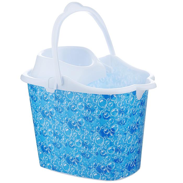 Ведро Фэйт Аква с отжимом, цвет: голубой, 12,5 л531-105Ведро Фэйт Аква изготовлено из высококачественного пластика с ярким принтом на внешних стенках. Оно легче железного и не подвержено коррозии. Ведро оснащено удобной пластиковой ручкой и носиком. Специальная насадка обеспечивает интенсивный отжим лепестковой швабры. Такое ведро станет незаменимым помощником в хозяйстве. Характеристики:Материал: пластик. Цвет: голубой. Размер ведра по верхнему краю: 37 см х 25 см. Высота стенок: 26 см. Объем: 12,5 л. Артикул: 69001.