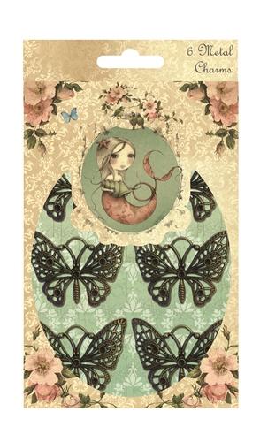 Металлические украшения Trimcraft Бабочки,6 шт. SNMC001RSP-202SМеталлические украшения Trimcraft Бабочки позволит юным модницам создавать индивидуальные, красочные браслеты, фенечки, бусы. В набор входят 6 бабочек различной формы. Нанизав элементы у вас получится оригинальный аксессуар, который подойдет к любой одежде. Характеристики: Материал: металл. Средний размер бабочки: 4 см х 4,5 см. Размер упаковки: 11 см x 17,5 см x 1 см.