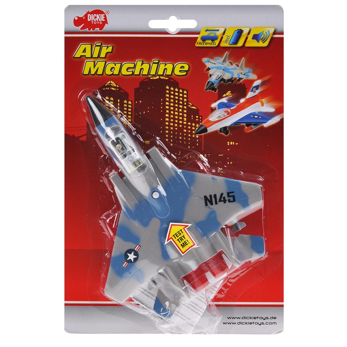 """Истребитель """"Dickie Toys"""" является миниатюрной копией настоящего истребителя. Игрушка, изготовленная из пластика, порадует вашего малыша. Истребитель снабжен двумя шасси и двумя ракетами для запуска. При нажатии кнопки на корпусе слышны реалистичные звуки взлетающего и садящегося истребителя."""