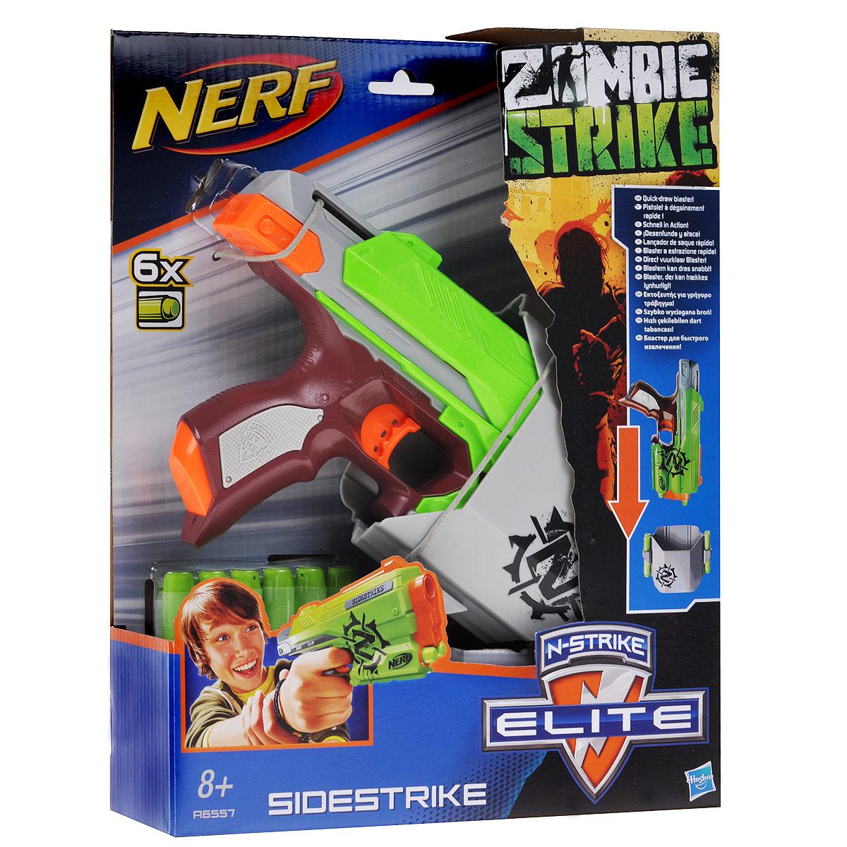 """Бластер Nerf """"Зомби Сайдстрайк"""" позволит вашему ребенку почувствовать себя во всеоружии! Выполненный из яркого безопасного пластика, он представляет собой стильный бластер, стреляющий на расстояние до 22 метров. Для того, что выстрелить, необходимо нажать на курок. В комплект входят шесть мягких стрел серии Элит/Зомби и кобура для крепления к поясу. Игра с бластером """"Зомби Сайдстрайк"""" поможет ребенку в развитии меткости, ловкости, координации движений и сноровки."""