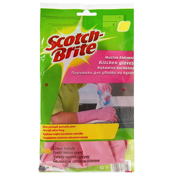 Перчатки для работы на кухне Scotch-Brite, цвет: розовый. Размер L531-105Перчатки для работы на кухне Scotch-Brite предохраняют кожу рук от загрязнения и влаги, защищают от соприкосновения с чистящими и моющими средствами. Идеально подходят для стирки, уборки и прочих работ по хозяйству. Изготовлены из натурального латекса. Эластичные, прочные перчатки специально предназначены для многократного использования. 100% хлопковое напыление внутри впитывает влагу, оставляя кожу рук сухой.