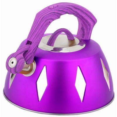 Чайник металлический Bekker De Luxe, цвет: фиолетовый, 2,8 л. BK-S455115510Корпус чайника Bekker De Luxe выполнен из высококачественной нержавеющей стали, что обеспечивает долговечность использования. Цветной корпус. Пластмассовая фиксированная ручка с прорезиненным покрытием делает использование чайника очень удобным и безопасным. Чайник снабжен свистком и устройством для открывания носика. Капсулированное дно. Подходит для использования на электрических, газовых, стеклокерамических, галогеновых плитах. Можно мыть в посудомоечной машине. Характеристики: Материал:нержавеющая сталь, пластик, резина. Объем:2,8 л. Диаметр основания чайника: 22,5 см. Толщина стенки: 0,5 мм. Высота чайника (без учета ручки):11 см. Размер упаковки: 22,5 см х 22,5 см х 20 см.