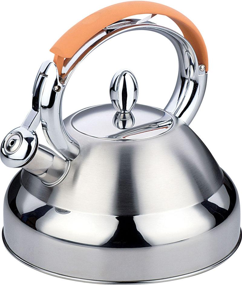 Чайник Bekker De Luxe, со свистком, цвет: оранжевый, 2,7 л. BK-S407VT-1520(SR)Корпус чайника Bekker De Luxe выполнен из высококачественной нержавеющей стали, что обеспечивает долговечность использования. Капсулированное дно чайника способствует быстрому закипанию воды даже при небольшой мощности конфорок. Комбинация зеркальной и матовой полировки придает изделию приятный внешний вид. Металлическая ручка с оранжевым силиконовым покрытием делает использование чайника очень удобным и безопасным. Носик чайника имеет откидной свисток, звуковой сигнал которого подскажет, когда закипит вода. Положение свистка регулируется при помощи нажатия на ручку чайника. Крышка чайника выполнена из стали.Подходит для использования на всех типах плит, включая индукционные. Можно мыть в посудомоечной машине. Характеристики:Материал: нержавеющая сталь 18/10, силикон. Объем: 2,7 л. Диаметр основания чайника: 22 см. Высота чайника (без учета ручки и крышки): 12 см.