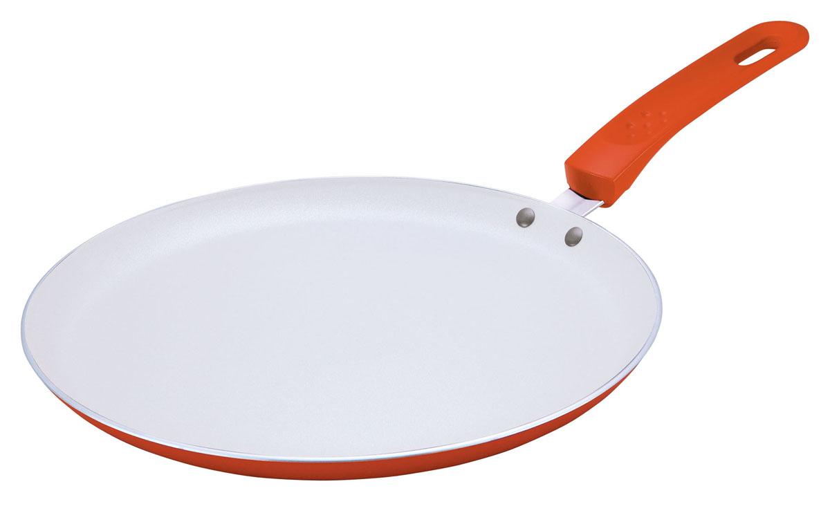 Сковорода блинная Bekker, с керамическим покрытием, цвет: оранжевый. Диаметр 22 см54 009312Сковорода блинная Bekker изготовлена из алюминия с керамическим покрытием Excilon белого цвета. Благодаря этому пища не пригорает и не прилипает к стенкам. Готовить можно с минимальным количеством масла и жиров. Внутреннее антипригарное керамическое покрытие обеспечивает легкость ухода за посудой. Внешнее покрытие - жаростойкий лак оранжевого цвета. Сковорода оснащена бакелитовой ручкой с прорезиненным покрытием. Специальная плоская форма сковороды идеально подходит для приготовления блинов. Подходит для газовых, электрических, стеклокерамических плит. Можно мыть в посудомоечной машине.Диаметр по верхнему краю: 22 см. Высота стенки: 2 см. Толщина стенки: 2,5 мм. Толщина дна: 3 мм. Длина ручки: 16 см. Диаметр дна: 19 см.