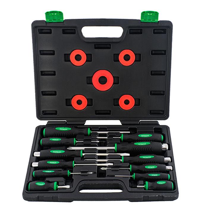 Набор отверток Hitachi, 12 предметов2706 (ПО)Набор отверток Hitachi, предназначен для монтажа/демонтажа различных резьбовых соединений.В состав набора входят:Крестовые отвертки: PH0 x 60 мм, PH2 x 38 мм, PZ1 x 80 мм, PZ2 x 100 мм, PZ3 x 125 мм;Плоские отвертки: SL6.5 x 38 мм, SL3 x 60 мм;Усиленные крестовые отвертки: PH1 x 75 мм, PH2 x 100 мм, PH3 x 125 мм;Усиленные плоские отвертки: SL5.5 x 100 мм, SL6.5 x 125 мм;Пластиковый кейс. Характеристики:Материал: пластик, металл. Размеры упаковки: 37 см х 29 см х 6,5 см.