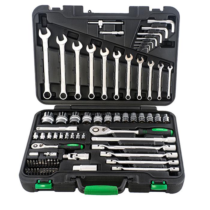 Набор ручного инструмента Hitachi, 77 предметов19845Набор ручного инструмента Hitachi - это необходимый предмет в каждом доме. Он включает в себя 77 предметов, которые умещаются в пластиковом кейсе. Это набор станет незаменимым предметом в вашем хозяйстве.В состав набора входит:торцевые головки 1/4: 4 мм, 5 мм, 6 мм, 7 мм, 8 мм, 9 мм, 10 мм, 11 мм, 13 мм;трещотка 1/4;удлинитель 1/4: 75 мм;универсальный переходник 1/4;вороток с бегунком 1/4: 110 мм;сцепка 1/4;биты TORX: Т10, Т15, Т20, Т25, Т30;биты HEX: Н2, Н3, Н4, Н5, Н6;адаптер для бит;биты со слотом: 3,4, 5.5, 7;биты крестовые: PH0, PH1, PH2, PH3, PZ1, PZ2, PZ3;торцевые головки 1/2: 10,11,12,13,14,15,17,19,22,24,27,30,32 мм;трещотка 1/2;удлинитель 1/2: 125 мм, 250 мм;универсальный переходник 1/2;свечная головка 1/2: 21 мм;гаечный ключ с шестигранной головкой: 1.5 мм, 2 мм, 2.5 мм, 5 мм, 6 мм, 8 мм,10 мм;изогнутый гаечный ключ: 8 мм х 9 мм, 10 мм х 11 мм, 12 мм х 13 мм, 14 мм х 15 мм;комбинированный гаечный ключ: 7 мм, 8 мм, 9 мм, 10 мм, 11 мм, 12 мм, 13 мм, 14 мм, 15 мм, 17 мм, 19 мм;пластиковый кейс. Характеристики:Материал: пластик, металл. Размеры упаковки: 44,5 см х 32,5 см х 10 см.