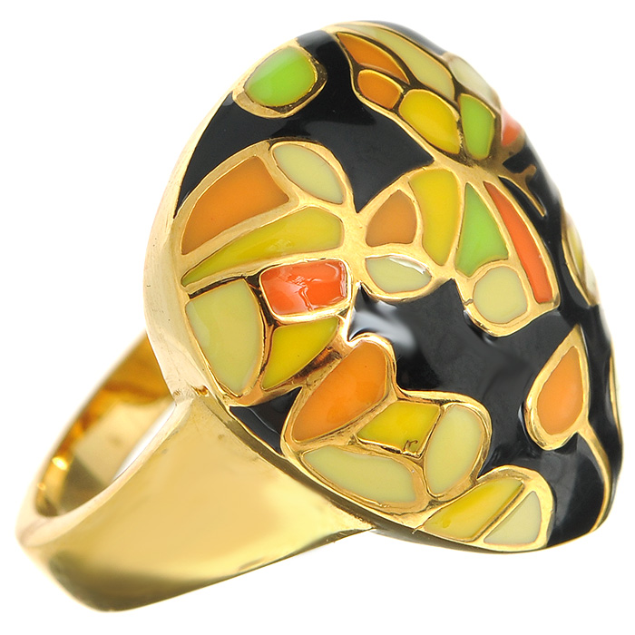 Кольцо Arabesca, цвет: золотистый. Размер 17. 60020197Коктейльное кольцоОригинальное кольцо Arabesca, выполненное из металла с гальваническим золотистым покрытием, декорировано разноцветной эмалью. Кольцо позволит вам с легкостью воплотить самую смелую фантазию и создать собственный, неповторимый образ. Характеристики: Материал: металл, эмаль. Гальваническое покрытие: позолота. Размер кольца:17. Размер декоративного элемента:2 см х 2,2 см. Артикул:60020197.