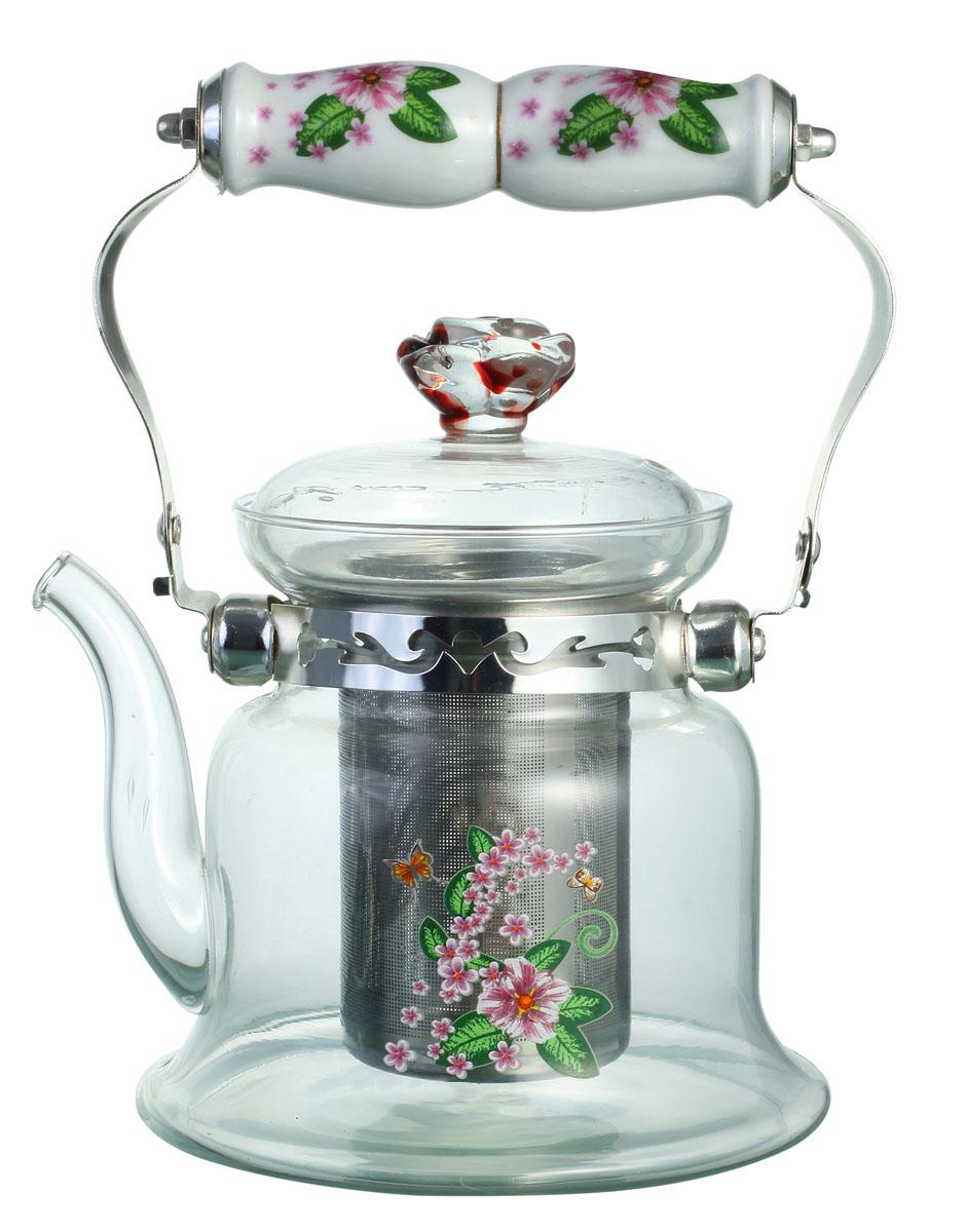 Чайник заварочный Bekker, цвет: розовые цветы, 1,2 л. BK-7619115510Заварочный чайник Bekker выполнен из жаростойкого стекла, которое хорошо удерживает тепло. Ручка и съемное ситечко внутри чайника выполнены из высококачественной нержавеющей стали. Высокая ручка чайника, снабженная фарфоровой насадкой, позволяет с легкостью удерживать его на весу. Съемное ситечко для заварки предотвращает попадание чаинок и листочков в настой. Заварочный чайник украшен изящным рисунком, что придает ему элегантность. Заварочный чайник из стекла удобно использовать для повседневного заваривания чая практически любого сорта. Но цветочные, фруктовые, красные и желтые сорта чая лучше других раскрывают свой вкус и аромат при заваривании именно в стеклянных чайниках и сохраняют полезные ферменты и витамины, содержащиеся в чайных листах.Высота чайника: 16 см.