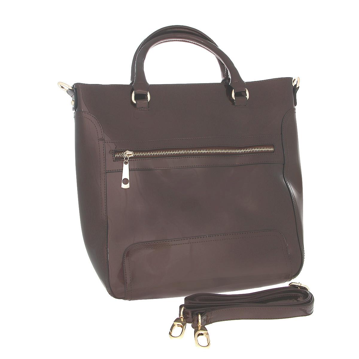 Сумка женская Fancy bag , цвет: коричневый. CM-6066-0923008Стильная сумка Fancy Bag выполнена из искусственной лаковой кожи коричневого цвета. Сумка закрывается на застежку-молнию. Имеет одно отделение, содержащее внутри два кармашка на застежке-молнии, два накладных открытых кармашка для мелочей. На задней стороне сумки расположен вшитый карман на молнии. На лицевой стороне небольшой вшитый кармашек. Сумка оснащена двумя ручками, крепящимися при помощи металлических колец и съемным плечевым ремнем. В комплекте чехол для хранения. Этот стильный аксессуар станет изысканным дополнением к вашему образу. Характеристики:Цвет: коричневый.Материал: искусственная кожа, металл, текстиль. Размер сумки: 36 см х 32 см х 12 см. Высота ручек: 12 см. Длина плечевого ремня: 60-120 см. Артикул: CM-6066-09.