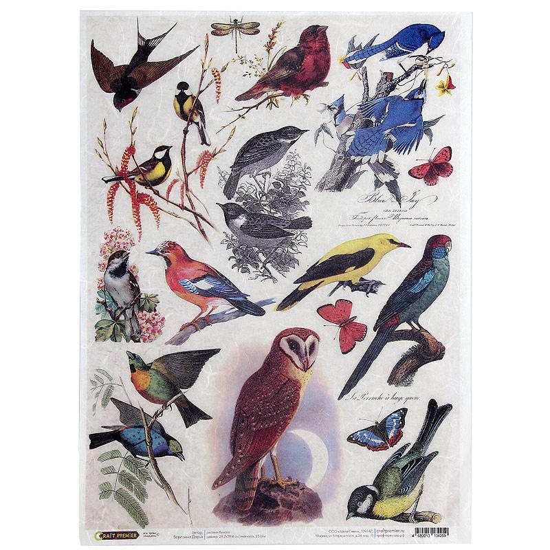 Рисовая бумага для декупажа Craft Premier Птички, 28,2 х 38,4 см