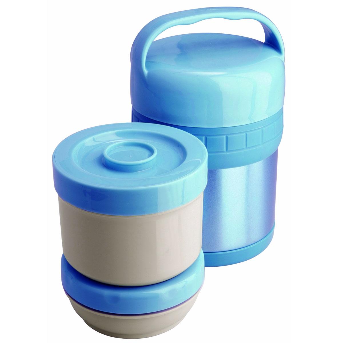 Термос ланч-бокс Regent Inox Soup, цвет: голубой, 1 л. 93-TE-S-3-1000T93-TE-S-3-1000TТермос Regent Inox Soup изготовлен из высококачественной пищевой нержавеющей стали, что обеспечивает высокую надежность и долговечность. Современная технология с вакуумной изоляцией и металлическая колба способствуют более длительному сохранению тепла. Внутри термоса предусмотрены два стальных лотка: лоток 1 с винтовой крышкой (650 мл), лоток 2 с герметичной крышкой (300 мл).Термос с широким горлом предназначен: - для хранения горячей пищи (первые и вторые блюда); - для хранения холодной пищи (мороженое, пельмени и пр.) и фруктов; - для хранения льда (нельзя хранить сухой лед). Термос способен сохранять горячую или холодную температуру до 24 часов - при температуре окружающей среды не ниже 18°С и температуре при заполнении не ниже +99+-1°С.Термос удобен в использовании дома, на даче, в турпоходе и на рыбалке. Пригодится на работе, в офисе и командировке, экономит электроэнергию и время. Нельзя мыть в посудомоечной машине. Нельзя мыть щелочными растворами. Нельзя ставить вблизи от огня. Нельзя одновременно хранить в термосе холодные и горячие блюда.Характеристики:Материал: нержавеющая сталь, пластик. Цвет: голубой. Общий объем термоса:1 л. Объем лотков:650 мл; 300 мл. Диаметр термоса: 13 см. Высота термоса (с учетом ручки): 21 см. Размер лотка 1:11,5 см х 11,5 см х 9,5 см. Размер лотка 2: 11,5 см х 11,5 см х 5 см. Температура после истечения 24 ч: 40-48°С. Размер упаковки: 13,5 см х 13,5 см х 23,5 см.Артикул: 93-TE-S-3-1000T.
