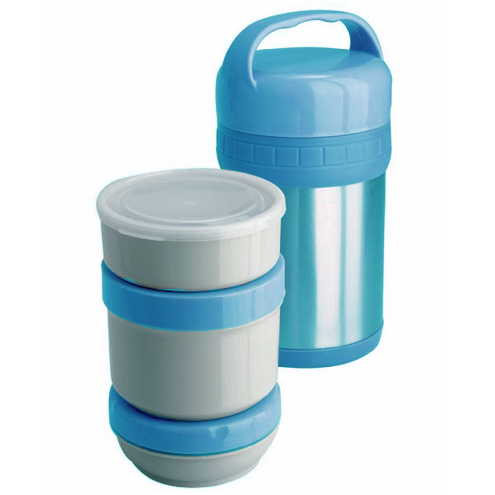 Термос ланч-бокс Regent Inox Soup, цвет: голубой, 1,5 л. 93-TE-S-3-1500T93-TE-S-3-1500TТермос Regent Inox Soup изготовлен из высококачественной пищевой нержавеющей стали, что обеспечивает высокую надежность и долговечность. Современная технология с вакуумной изоляцией и металлическая колба способствуют более длительному сохранению тепла. Внутри термоса предусмотрены три стальных лотка: лоток 1 с пластиковой крышкой (350 мл), лоток 2 с винтовой крышкой (650 мл), лоток 3 с герметичной крышкой (300 мл).Термос с широким горлом предназначен: - для хранения горячей пищи (первые и вторые блюда); - для хранения холодной пищи (мороженое, пельмени и пр.) и фруктов; - для хранения льда (нельзя хранить сухой лед). Термос способен сохранять горячую или холодную температуру до 24 часов - при температуре окружающей среды не ниже 18°С и температуре при заполнении не ниже +99+-1°С.Термос удобен в использовании дома, на даче, в турпоходе и на рыбалке. Пригодится на работе, в офисе и командировке, экономит электроэнергию и время. Нельзя мыть в посудомоечной машине. Нельзя мыть щелочными растворами. Нельзя ставить вблизи от огня. Нельзя одновременно хранить в термосе холодные и горячие блюда.Характеристики:Материал: нержавеющая сталь, пластик. Общий объем термоса:1,5 л. Объем лотков:650 мл; 350 мл; 300 мл. Диаметр термоса: 13 см. Высота термоса (с учетом ручки): 25 см. Размер лотка 1: 11,5 см х 11,5 см х 4,5 см. Размер лотка 2:11,5 см х 11,5 см х 9,5 см. Размер лотка 3: 11,5 см х 11,5 см х 5 см. Температура после истечения 24 ч: 46-50°С. Размер упаковки: 13,5 см х 13,5 см х 26,5 см. Артикул: 93-TE-S-3-1500T.