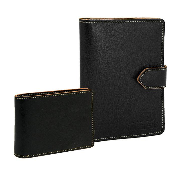 Подарочный набор Texas: бумажник водителя, портмоне, цвет: черный. BV.10.TX.черный/PM.16.TX.черныйW16-11128_323Подарочный набор Texas состоит из бумажника водителя и мужского портмоне. Предметы набора выполнены из толстой натуральной кожи в винтажном стиле с контрастной отделочной строчкой. Бумажник водителя из коллекции Texas на внутреннем развороте имеет карман-окошко с сеткой, на правой стороне - горизонтальный карман из кожи. Внутренний блок из прозрачного пластика вмещает все необходимые документы. Бумажник закрывается хлястиком на кнопку. Компактное мужское портмоне имеет внутри отделение для купюр, два вместительных кармана для кредитных карт и маленький отдельный блок для хранения sim-карт, закрывающийся на кнопку. На внешней стороне - небольшой карман для мелочи на скрытой застежке-молнии. Подарочный набор Texas станет великолепным подарком для человека, ценящего качественные и практичные вещи. Характеристики:Материал: натуральная кожа, текстиль, металл. Размер бумажника (в закрытом виде): 9,3 см x 12,8 см x 1,2 см. Размер портмоне: 11 см x 8,5 см x 1,5 см. Цвет: черный. Артикул: BV.10.TX.черный/PM.16.TX.черный.