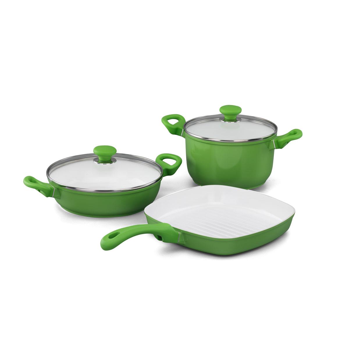 Набор посуды Korkmaz Seravita с керамическим покрытием, цвет: зеленый, 3 предметаFS-91909Набор посуды Korkmaz Seravita состоит из кастрюли с крышкой, сотейника с крышкой и сковороды-гриля. Внешнее покрытие зеленого цвета, внутреннее покрытие - белого цвета. Керамическое внутреннее и наружное покрытие нагревается до +450°С, чрезвычайно устойчиво к механическому воздействию, не выделяет токсичных паров при готовке, не содержит тяжелых металлов (таких как свинец и кадмий), легко моется. При готовке на керамическом покрытии пища не пристает и не пригорает, а масла требуется вдвое меньше по сравнению с другими покрытиями, что позволяет приготовить здоровую, вкусную и полезную пищу без лишних жиров и оксидантов. Кроме того, покрытие абсолютно экологично, так как не содержит тефлоновые составляющие PTFE и PFOA. Основа из высокопрочного алюминия позволяет изделиям быстро нагреваться до высокой температуры и равномерно распределять тепло по всей поверхности. Высокая теплопроводность позволяет быстро готовить даже на медленном огне, а значит, витамины и полезные микроэлементы не разрушаются и остаются в пище, что делает ее здоровой и полезной. Изделия оснащены удобными ручками с прорезиненным покрытием зеленого цвета. Крышки, изготовленные из удароустойчивого жаропрочного стекла, имеют отверстия для выхода пара и металлические ободы.Можно использовать на газовых, электрических, стеклокерамических плитах. Не подходит для индукционных и галогенных плит. Можно мыть в посудомоечной машине. Во время мытья не следует применять жесткую металлическую щетку или агрессивные моющие средства во избежание повреждения покрытия и поверхности. Характеристики: Материал: алюминий, резина, стекло. Цвет: зеленый, белый. Объем кастрюли: 3,5 л. Внутренний диаметр кастрюли: 20 см. Высота стенки кастрюли: 11 см. Объем сотейника: 2,6 л. Внутренний диаметр сотейника: 24 см. Высота стенки сотейника: 6 см. Объем сковороды: 2 л. Внутренний размер сковороды: 26 см х 26 см. Высота стенки сковороды: 4,5 см.