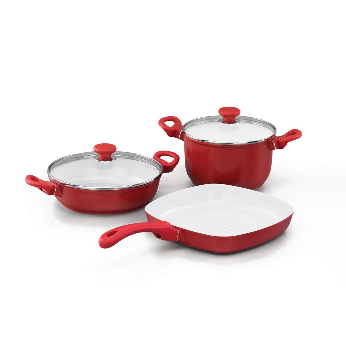 Набор посуды Korkmaz Seravita с керамическим покрытием, цвет: красный, 3 предмета68/5/3Набор посуды Korkmaz Seravita состоит из кастрюли с крышкой, сотейника с крышкой и сковороды-гриля. Внешнее покрытие красного цвета, внутреннее покрытие - белого цвета. Керамическое внутреннее и наружное покрытие нагревается до +450°С, чрезвычайно устойчиво к механическому воздействию, не выделяет токсичных паров при готовке, не содержит тяжелых металлов (таких как свинец и кадмий), легко моется. При готовке на керамическом покрытии пища не пристает и не пригорает, а масла требуется вдвое меньше по сравнению с другими покрытиями, что позволяет приготовить здоровую, вкусную и полезную пищу без лишних жиров и оксидантов. Кроме того, покрытие абсолютно экологично, так как не содержит тефлоновые составляющие PTFE и PFOA. Основа из высокопрочного алюминия позволяет изделиям быстро нагреваться до высокой температуры и равномерно распределять тепло по всей поверхности. Высокая теплопроводность позволяет быстро готовить даже на медленном огне, а значит, витамины и полезные микроэлементы не разрушаются и остаются в пище, что делает ее здоровой и полезной. Изделия оснащены удобными ручками с прорезиненным покрытием красного цвета. Крышки, изготовленные из удароустойчивого жаропрочного стекла, имеют отверстия для выхода пара и металлические ободы.Можно использовать на газовых, электрических, стеклокерамических плитах. Не подходит для индукционных и галогенных плит. Можно мыть в посудомоечной машине. Во время мытья не следует применять жесткую металлическую щетку или агрессивные моющие средства во избежание повреждения покрытия и поверхности. Характеристики: Материал: алюминий, резина, стекло. Цвет: красный, белый. Объем кастрюли: 3,5 л. Внутренний диаметр кастрюли: 20 см. Высота стенки кастрюли: 11 см. Объем сотейника: 2,6 л. Внутренний диаметр сотейника: 24 см. Высота стенки сотейника: 6 см. Объем сковороды: 2 л. Внутренний размер сковороды: 26 см х 26 см. Высота стенки сковороды: 4,5 см. Д