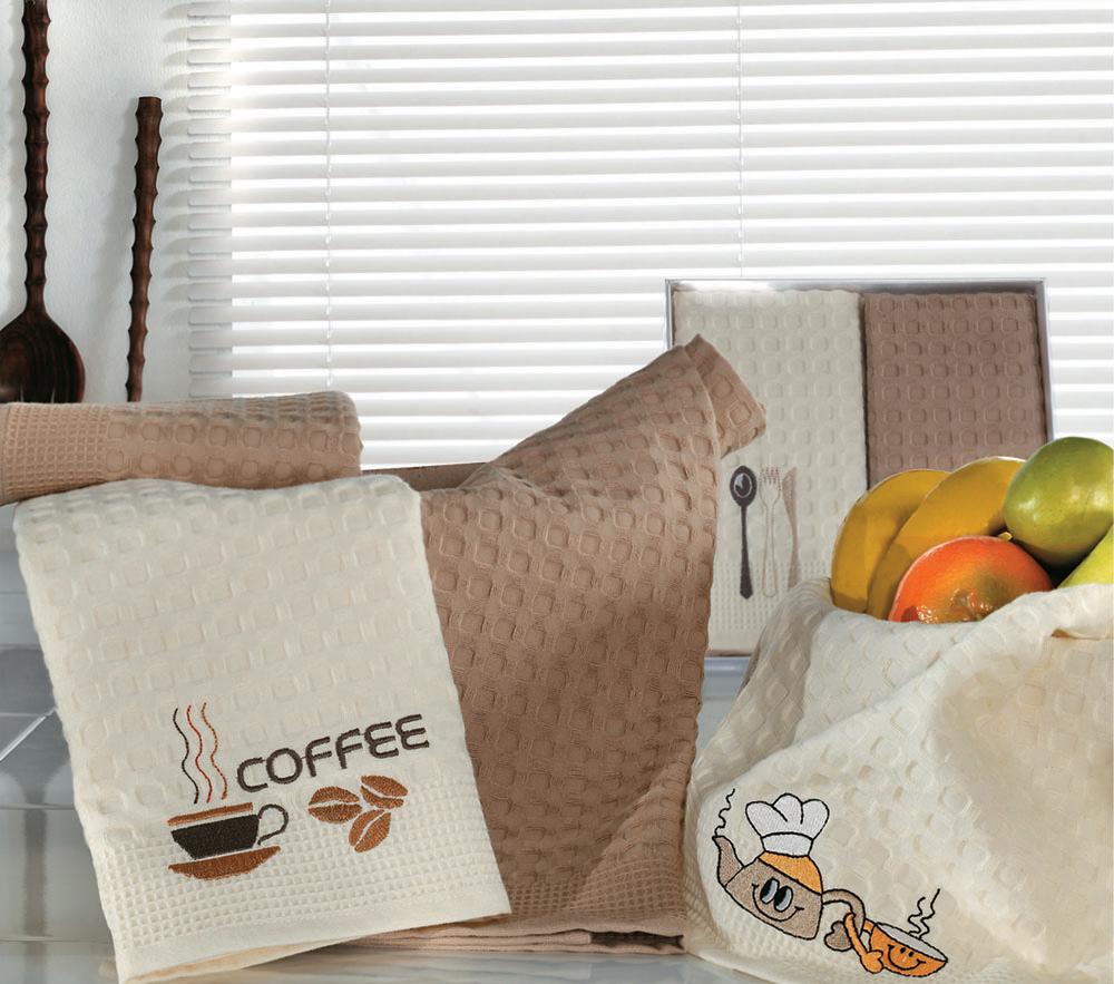 Набор вафельных салфеток Кулинария, цвет: кремовый, коричневый, 50 см х 70 см, 2 шт504/CHAR005Потрясающе нарядные полотенца-салфетки Кулинария, упакованные в подарочную коробку, повязанную атласным бантом коричневого цвета -станут прекрасным подарком, надежным помощником на кухне, отличным украшением праздничного стола, скрасят повседневные будни.Необычная вафельная ткань-пике удивительной мягкости изготовлена из натурального хлопка благородных цветов: кремовый и легкий коричневый. Характеристики:Материал: 100% хлопок. Размер одной салфетки: 50 см х 70 см. Размер упаковки: 26 см х 26 см х 3,5 см. Артикул: Кулинария