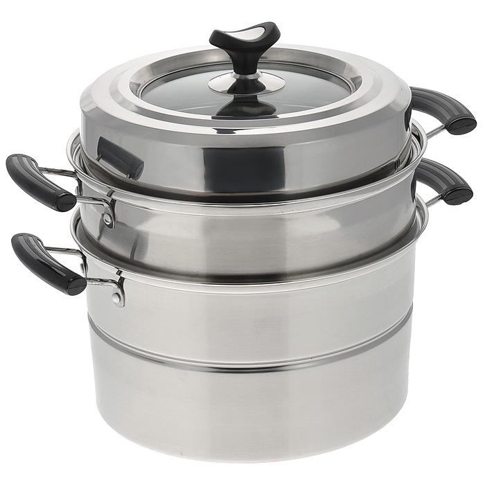 Мантоварка Mayer & Boch, 2 яруса, диаметр 26 см. 2146068/5/3Мантоварка Mayer & Boch - это специализированная кастрюля для приготовления на пару, изготовленная из высококачественной нержавеющей стали 18/10. Специальная многоуровневая конструкция позволяет приготовить одновременно до трех разных блюд национальной кухни: мантов, паровых пельменей и т.д. Бакелитовые ручки не нагреваются.Крышка изготовлена из термостойкого стекла и нержавеющей стали. Такая крышка позволяет следить за процессом приготовления пищи без потери тепла. Она плотно прилегает к краю изделия, сохраняя аромат блюд. Мантоварка подходит для использования на газовых, электрических и стеклокерамических плитах. Также ее можно мыть в посудомоечной машине. Характеристики: Материал: нержавеющая сталь, стекло, бакелит. Внутренний диаметр мантоварки: 26 см. Высота мантоварки с учетом крышки: 25 см. Размер упаковки: 33 см х 33,5 см х 17,5 см. Артикул: 21460.
