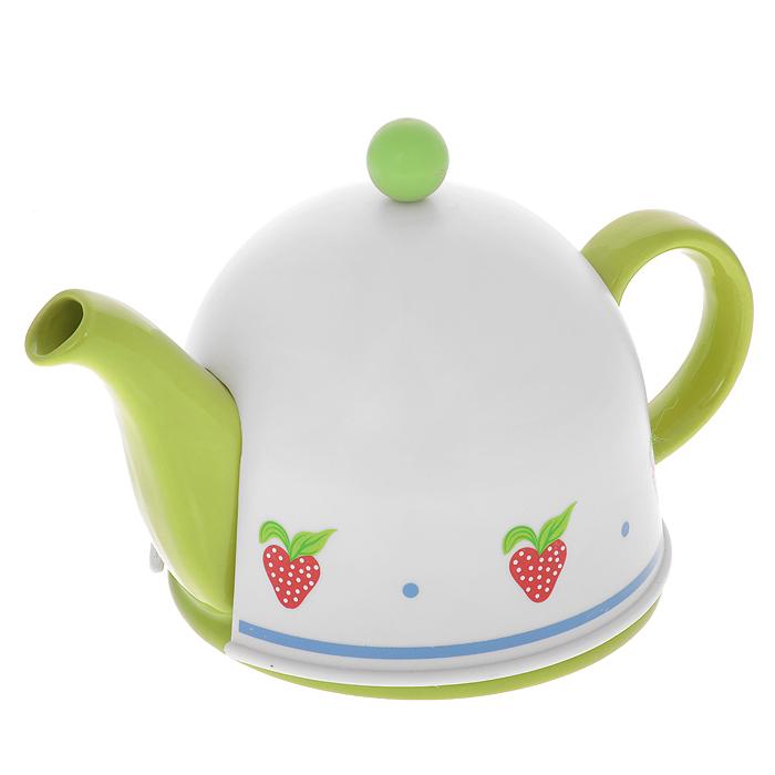 Чайник заварочный Mayer & Boch, с термоколпаком, цвет: зеленый, белый, 0,5 л391602Заварочный чайник Mayer & Boch, выполненный из керамики зеленого цвета, позволит вам заварить свежий, ароматный чай. Чайник оснащен сетчатым фильтром из нержавеющей стали. Он задерживает чаинки и предотвращает их попадание в чашку. Сверху на чайник одевается термоколпак из пластика с тканевой прослойкой. Он поможет дольше удерживать тепло, а значит, вода в чайнике дольше будет оставаться горячей и пригодной для заваривания чая. Заварочный чайник Mayer & Boch послужит хорошим подарком для друзей и близких. Характеристики:Материал: керамика, нержавеющая сталь, пластик, текстиль. Цвет: зеленый, белый. Объем: 0,5 л. Диаметр основания чайника: 14 см. Высота чайника (без учета ручки и крышки): 9,5 см. Размер термоколпака: 14,5 см х 14,5 см х 13 см. Размер упаковки: 18,5 см х 15,5 см х 15 см. Артикул: 21873.