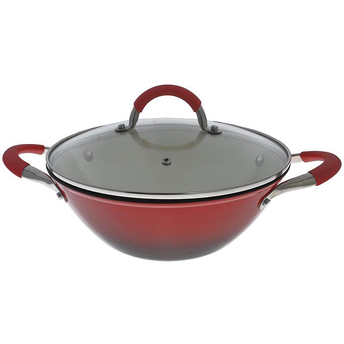 Казан Mayer & Boch с крышкой. Диаметр 30 см54 009312Казан Mayer & Boch, изготовленный из чугуна, идеально подходит для приготовления вкусных тушеных блюд. Он имеет внешнее красное и внутреннее кремовое эмалевое покрытие. Чугун является традиционным высокопрочным, экологически чистым материалом. Причем, чем дольше и чаще вы пользуетесь этой посудой, тем лучше становятся ее свойства. Высокая теплоемкость чугуна позволяет ему сильно нагреваться и медленно остывать, а это в свою очередь обеспечивает равномерное приготовление пищи. Чугун не вступает в какие-либо химические реакции с пищей в процессе приготовления и хранения, а плотное покрытие - безупречное препятствие для бактерий и запахов. Пища, приготовленная в чугунной посуде, благодаря экологической чистоте материала не может нанести вред здоровью человека. Казан оснащен двумя удобными ручками из нержавеющей стали с ненагревающимися силиконовыми вставками. Крышка изготовлена из жаропрочного стекла и оснащена отверстием для выпуска пара и металлическим ободом. Такая крышка позволяет следить за процессом приготовления пищи без потери тепла. Она плотно прилегает к краю казана, сохраняя аромат блюд. Казан можно использовать на всех типах плит, включая индукционные. Можно мыть в посудомоечной машине и хранить в холодильнике. Характеристики: Материал: чугун, эмаль, силикон, стекло, нержавеющая сталь. Объем: 4,4 л. Внутренний диаметр: 30 см. Высота стенки: 10 см. Толщина стенки: 0,3 см. Толщина дна: 0,5 см. Ширина казана с учетом ручек: 42 см. Размер упаковки: 35 см х 32 см х 12 см. Артикул: 20867.