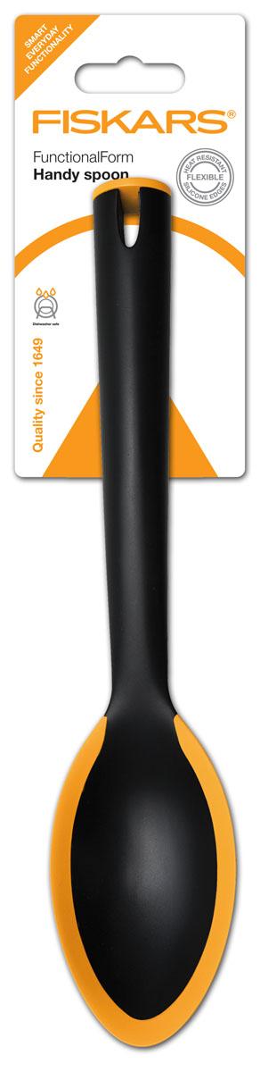 Ложка плоская большая Fiskars, 29 см68/5/3Ложка плоская большая Fiskarsиз специального укрепленного нейлона, края которой выполнены из жаропрочного силикона для комфортного использования. Характеристики: Материал:нейлон, силикон. Длина ложки:29 см. Ширина ложки:5,5 см. Размер упаковки:36 см х 8 см х 3 см.