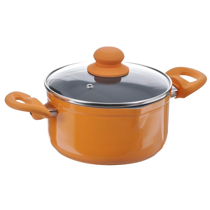 Кастрюля Mayer & Boch с крышкой, с керамическим покрытием, цвет: оранжевый, 2,9 л68/5/2Кастрюля Mayer & Boch изготовлена из высококачественного алюминиевого сплава с двухслойным керамическим покрытием серого цвета. Керамика не содержит вредных примесей ПФОК, поэтому является экологически чистой, безопасной для здоровья. Кроме того, с таким покрытием пища не пригорает и не прилипает к стенкам, поэтому можно готовить с минимальным добавлением масла и жиров. Гладкая поверхность легко чистится - ее можно мыть в воде руками или вытирать полотенцем. Кастрюля эффективно сохраняет тепло и быстро разогревает продукты. Энергосберегающая технология позволяет готовить быстрее, с меньшими затратами энергии. Кастрюля оснащена бакелитовыми ручками с эффектом Soft-Touch, что делает процесс эксплуатации более удобным и комфортным. Крышка из термостойкого стекла снабжена металлическим ободом, удобной бакелитовой ручкой и отверстием для выпуска пара. Такая крышка позволит следить за процессом приготовления пищи без потери тепла. Она плотно прилегает к краям сковороды, сохраняя аромат блюд. Кастрюля с двух сторон снабжена носиками, что позволяет удобно выливать жидкость. Внешнее покрытие - термостойкий лак оранжевого цвета. Подходит для использования на газовых, электрических, стеклокерамических, галогенных, индукционных плитах. Не предназначена для СВЧ-печей и духового шкафа. Можно мыть в посудомоечной машине.Внутренний диаметр: 18 см.Высота стенки: 9,5 см.Толщина стенки: 0,23 см.Толщина дна: 0,4 см.