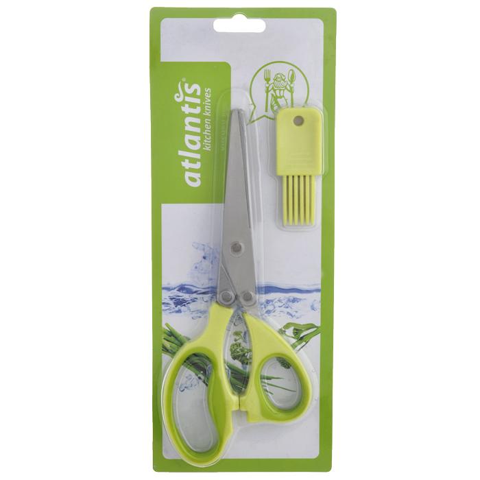 Ножницы кухонные Atlantis, для шинковки зелени, цвет: салатовый18LF-1005-GКухонные ножницы Atlantis с изготовлены из высококачественной стали с ручной заточкой и предназначены для шинковки зелени. Оснащены 5 лезвиями из стали высокого качества и имеют удобные нескользящие ручки с силиконовыми вставками. Эти ножницы также подходят, чтобы нарезать салат, ветчину, грибы, и т.д.В комплект входит специальная силиконовая кисточка для чистки. Характеристики:Материал: сталь, пластик, силикон. Цвет: салатовый. Длина ножниц: 21 см. Размер кисточки: 2,5 см х 1 см х 7 см. Размер упаковки: 29 см х 12 см х 2 см. Артикул: 18LF-1005-G.