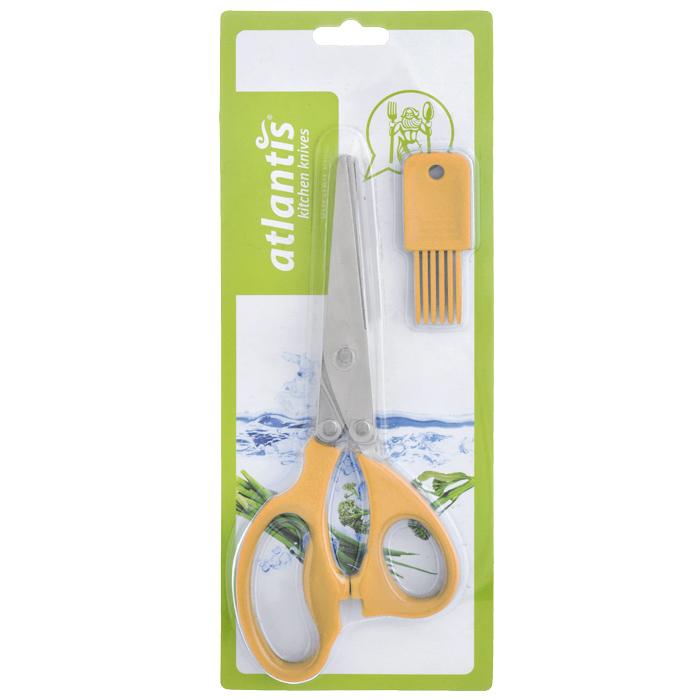 Ножницы кухонные Atlantis, для шинковки зелени, цвет: оранжевыйFS-91909Кухонные ножницы Atlantis с изготовлены из высококачественной стали с ручной заточкой и предназначены для шинковки зелени. Оснащены 5 лезвиями из стали высокого качества и имеют удобные нескользящие ручки с силиконовыми вставками. Эти ножницы также подходят, чтобы нарезать салат, ветчину, грибы, и т.д.В комплект входит специальная силиконовая кисточка для чистки. Характеристики:Материал: сталь, пластик, силикон. Цвет: оранжевый. Длина ножниц: 21 см. Размер кисточки: 2,5 см х 1 см х 7 см. Размер упаковки: 29 см х 12 см х 2 см. Артикул: 18LF-1005-O.