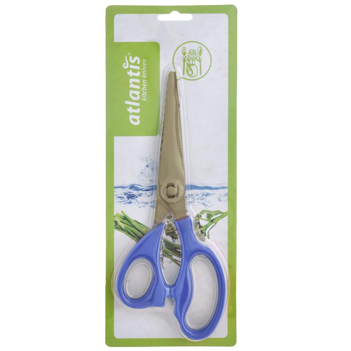 Ножницы кухонные Atlantis, разборные, цвет: синийFS-91909Кухонные ножницы Atlantis изготовлены из высококачественной стали с ручной заточкой. Ручки ножниц выполнены из пластика синего цвета. Кухонные ножницы предназначены для резки мяса и чистки рыбы. Имеется овальная полость между ручками, которая используется для колки орехов. Характеристики:Материал: сталь, пластик. Цвет: синий. Длина ножниц: 21,5 см. Размер упаковки: 28,5 см х 11,5 см х 2 см. Артикул: 18LF-1002-B.
