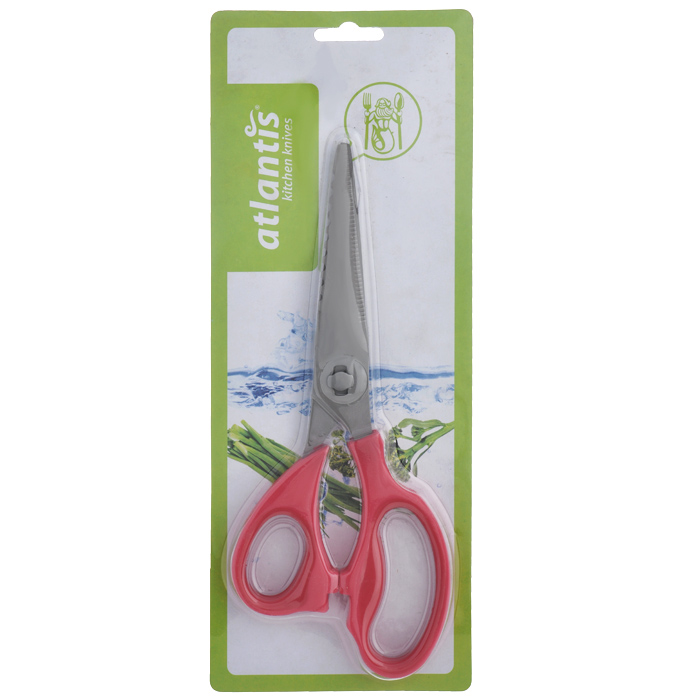 Ножницы кухонные Atlantis, разборные, цвет: красный115510Кухонные ножницы Atlantis изготовлены из высококачественной стали с ручной заточкой. Ручки ножниц выполнены из пластика красного цвета. Кухонные ножницы предназначены для резки мяса и чистки рыбы. Имеется овальная полость между ручками, которая используется для колки орехов. Характеристики:Материал: сталь, пластик. Цвет: красный. Длина ножниц: 21,5 см. Размер упаковки: 28,5 см х 11,5 см х 2 см. Артикул: 18LF-1002-R.