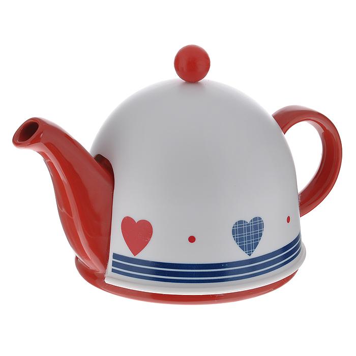 Чайник заварочный Mayer & Boch, с термоколпаком, цвет: красный, белый, 500 мл. 2187668/5/4Заварочный чайник Mayer & Boch, выполненный из керамики красного цвета, позволит вам заварить свежий, ароматный чай. Чайник оснащен сетчатым фильтром из нержавеющей стали. Он задерживает чаинки и предотвращает их попадание в чашку. Сверху на чайник одевается термоколпак из пластика с тканевой прослойкой. Он поможет дольше удерживать тепло, а значит, вода в чайнике дольше будет оставаться горячей и пригодной для заваривания чая. Заварочный чайник Mayer & Boch послужит хорошим подарком для друзей и близких.Диаметр основания чайника: 14 см.Высота чайника (без учета ручки и крышки): 9,5 см.Размер термоколпака: 14,5 см х 14,5 см х 13 см.