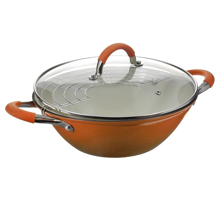 Казан чугунный Mayer & Boch с крышкой, с решеткой-барбекю, цвет: оранжевый, 5,6 л9830Казан Mayer & Boch, изготовленный из чугуна, идеально подходит для приготовления вкусных тушеных блюд. Он имеет внешнее оранжевое и внутреннее белое эмалевое покрытие. Чугун является традиционным высокопрочным, экологически чистым материалом. Причем, чем дольше и чаще вы пользуетесь этой посудой, тем лучше становятся ее свойства. Высокая теплоемкость чугуна позволяет ему сильно нагреваться и медленно остывать, а это в свою очередь обеспечивает равномерное приготовление пищи. Чугун не вступает в какие-либо химические реакции с пищей в процессе приготовления и хранения, а плотное покрытие - безупречное препятствие для бактерий и запахов. Пища, приготовленная в чугунной посуде, благодаря экологической чистоте материала не может нанести вред здоровью человека. Казан оснащен двумя удобными ручками из нержавеющей стали с ненагревающимися силиконовыми вставками. Крышка изготовлена из жаропрочного стекла и оснащена отверстием для выпуска пара и металлическим ободом. Такая крышка позволяет следить за процессом приготовления пищи без потери тепла. Она плотно прилегает к краю казана, сохраняя аромат блюд. В комплекте - решетка-барбекю.Подходит для использования на газовых, электрических, стеклокерамических, галогенных, индукционных плитах. Не предназначен для СВЧ-печей. Можно мыть в посудомоечной машине, а также использовать в духовом шкафу. Подходит для хранения пищи в холодильнике. Характеристики: Материал: чугун, эмаль, силикон, стекло, нержавеющая сталь. Цвет: оранжевый, белый. Объем: 5,6 л. Внутренний диаметр: 32 см. Высота стенки: 11 см. Толщина стенки: 0,28 см. Толщина дна: 0,4 см. Диаметр дна: 17 см. Размер решетки-барбекю: 33,5 см х 15 см. Размер упаковки: 33,5 см х 13,5 см х 33,5 см. Артикул: 21412.