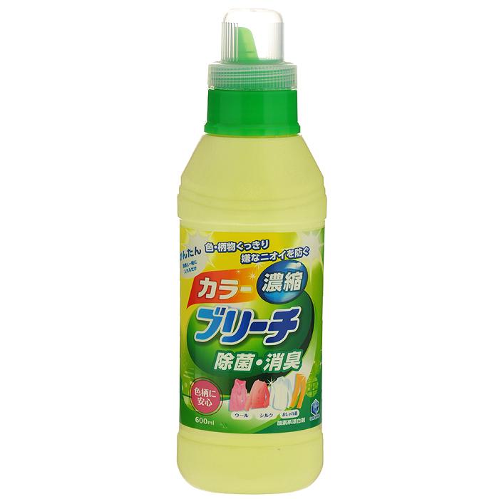 Кислородный отбеливатель Daiichi Bleach, для цветного белья, 600 мл391602Концентрированный кислородный отбеливатель Daiichi Bleach не содержит хлора, обеспечивает простое и безопасное отбеливание изделий из шелка, шерсти и хлопка. Сохраняет четкость узора и цвет вашей одежды, предупреждает появление неприятных запахов и уничтожает бактерии. Используется для удаления пятен (от кофе, чая, травы, крови, пота), отбеливания, устранения запаха и дезинфицирования очень грязной одежды. Подходит для отбеливания детского белья и одежды новорожденных. Характеристики:Объем: 600 мл. Артикул: 325002. Товар сертифицирован.