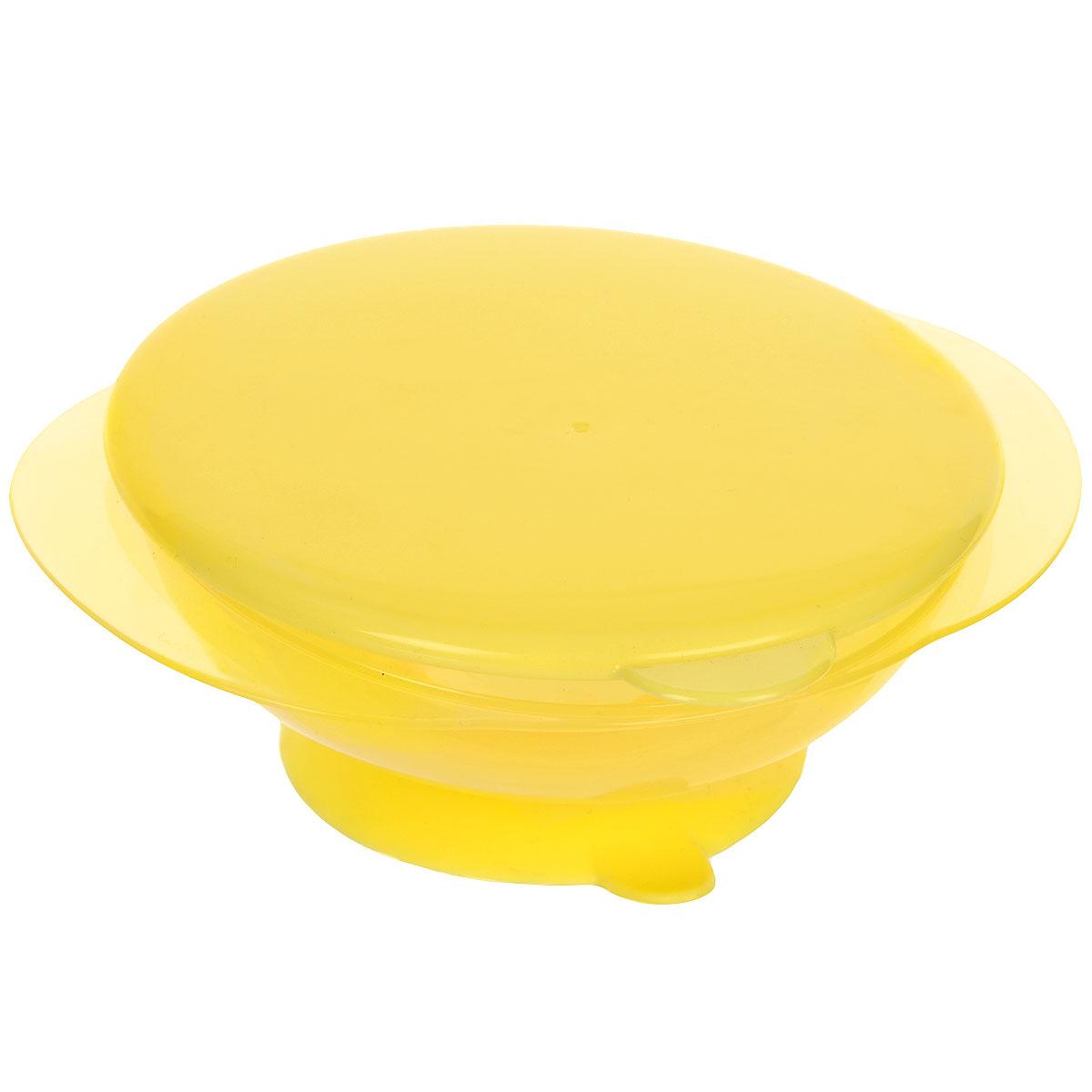Тарелка на присоске Happy Baby, с крышкой, цвет: желтый115510Детская тарелочка Happy Baby с удобной присоской идеально подойдет для кормления малыша и самостоятельного приема им пищи.Тарелочка выполнена из безопасного прозрачного полипропилена, не содержащего Бисфенол А. Специальная резиновая присоска фиксирует тарелку на столе, благодаря чему она не упадет, еда не прольется, а ваш малыш будет доволен. В комплект к тарелке предусмотрена плотно закрывающаяся крышка, которая позволит сохранить остатки еды или будет полезна в дороге. Характеристики:Материал: полипропилен, термопластичный эластомер. Рекомендуемый возраст: от 8 месяцев. Размер тарелки: 16,5 см х 14 см х 6 см. Диаметр присоски: 8 см.