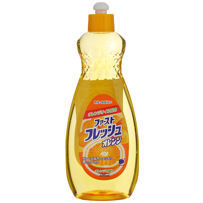 Гель для мытья посуды Daiichi Апельсин, 600 мл790009Гель для мытья посуды Daiichi с маслом апельсина предназначен для мытья столовой посуды, посуды для приготовления пищи, овощей и фруктов. Средство полностью удаляет трудновыводимые пятна жира и имеет приятный аромат апельсина. Экологически чистый продукт. Содержит растительный экстракт, безопасный для кожи рук. Не сушит и не раздражает кожу рук. Не оставляет запаха на овощах и фруктах. Прекрасно смывается водой с любой поверхности полностью и без остатка. Подходит для мытья детской посуды и аксессуаров для кормления новорожденных. Характеристики: Состав: ПАВ (18% алкилбен-зинсульфат натрия, полиоксиэтиленалкинэтил). Объем: 600 мл. Артикул: 107325. Товар сертифицирован.