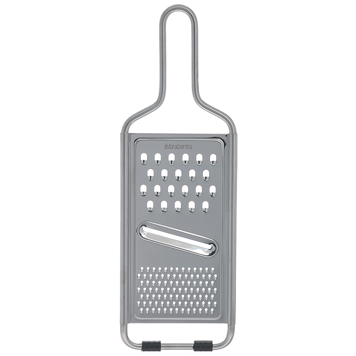 Терка универсальная Brabantia, цвет: серебристый. 261008391602Универсальная терка Brabantia выполнена из высококачественной стали. Изделие предназначено для измельчения продуктов. Терка имеет три варианта измельчения: шинковка, мелкая терка и крупная терка. Сверху изделие оснащено удобной ручкой, а снизу - прорезиненными ножками для предотвращения скольжения по столу. Терку можно мыть в посудомоечной машине.Практичная и функциональная терка Brabantia займет достойное место среди аксессуаров на вашей кухне. Характеристики:Материал: сталь, резина. Цвет: белый. Размер терки (ДхШхВ): 11,7 см х 1 см х 35 см. Размер рабочей поверхности: 10 см х 18,5 см. Артикул: 261008. Гарантия производителя: 5 лет.