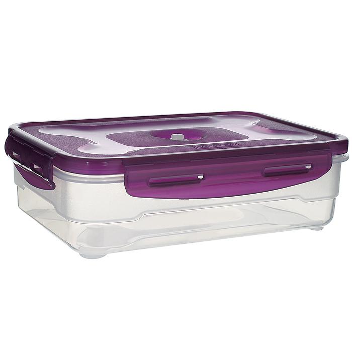 Контейнер вакуумный для пищевых продуктов Atlantis, цвет: фиолетовый, 1,2 лFA-5125 WhiteКонтейнер Atlantis прямоугольной формы предназначен для хранения пищевых продуктов. Контейнер изготовлен из пищевого пластика, в состав которого включена антибактериальная добавка Microban. Microban, встроенный в структуру пластика, препятствует размножению микроорганизмов, уничтожает до 99,6% бактерий, находящихся на поверхности изделия.Сила межмолекулярных связей внутри полимера удерживает антисептик на поверхности и он не распространяется в сохраняемый продукт.Не изменяет вкусовых свойств хранимых в контейнере продуктов, препятствует размножению болезнетворных бактерий, сохраняет антибактериальные свойства в течение всего срока использования контейнера.Продукты сохраняются свежими дольше, чем в обычных контейнерах.Позволяет предотвратить загрязнение и неприятный запах, вызываемый бактериями, грибком и плесенью. Продукты в вакуумном контейнере можно ставить в морозилку или разогреватьв микроволновой печи, не снимая при этом крышку контейнера.Состояние вакуума достигается в контейнере с помощью вакуумного насоса.Контейнер универсален, вы сможете хранить, замораживать, разогревать самыеразнообразные продукты. Характеристики:Материал: пластик. Объем контейнера: 1,2 л. Размер контейнера (с крышкой): 22,8 см х 16 см х 6,5 см. Артикул:VS2R-31-V.