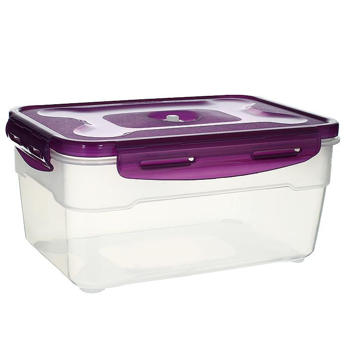 Контейнер вакуумный для пищевых продуктов Atlantis, цвет: фиолетовый, 2,3 лVT-1520(SR)Контейнер Atlantis прямоугольной формы предназначен для хранения пищевых продуктов. Контейнер изготовлен из пищевого пластика, в состав которого включена антибактериальная добавка Microban. Microban, встроенный в структуру пластика, препятствует размножению микроорганизмов, уничтожает до 99,6% бактерий, находящихся на поверхности изделия.Сила межмолекулярных связей внутри полимера удерживает антисептик на поверхности и он не распространяется в сохраняемый продукт.Не изменяет вкусовых свойств хранимых в контейнере продуктов, препятствует размножению болезнетворных бактерий, сохраняет антибактериальные свойства в течение всего срока использования контейнера.Продукты сохраняются свежими дольше, чем в обычных контейнерах.Позволяет предотвратить загрязнение и неприятный запах, вызываемый бактериями, грибком и плесенью. Продукты в вакуумном контейнере можно ставить в морозилку или разогреватьв микроволновой печи, не снимая при этом крышку контейнера.Состояние вакуума достигается в контейнере с помощью вакуумного насоса.Контейнер универсален, вы сможете хранить, замораживать, разогревать самыеразнообразные продукты. Характеристики:Материал: пластик. Объем контейнера: 2,3 л. Размер контейнера (с крышкой): 22,5 см х 16 см х 11 см. Артикул:VS2R-32-V.