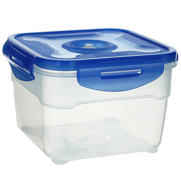 Контейнер вакуумный для пищевых продуктов Atlantis, цвет: синий, 1,5 лVT-1520(SR)Контейнер Atlantis квадратной формы предназначен для хранения пищевых продуктов. Контейнер изготовлен из пищевого пластика, в состав которого включена антибактериальная добавка Microban. Microban, встроенный в структуру пластика, препятствует размножению микроорганизмов, уничтожает до 99,6% бактерий, находящихся на поверхности изделия.Сила межмолекулярных связей внутри полимера удерживает антисептик на поверхности и он не распространяется в сохраняемый продукт.Не изменяет вкусовых свойств хранимых в контейнере продуктов, препятствует размножению болезнетворных бактерий, сохраняет антибактериальные свойства в течение всего срока использования контейнера.Продукты сохраняются свежими дольше, чем в обычных контейнерах.Позволяет предотвратить загрязнение и неприятный запах, вызываемый бактериями, грибком и плесенью. Продукты в вакуумном контейнере можно ставить в морозилку или разогреватьв микроволновой печи, не снимая при этом крышку контейнера.Состояние вакуума достигается в контейнере с помощью вакуумного насоса.Контейнер универсален, вы сможете хранить, замораживать, разогревать самыеразнообразные продукты. Характеристики:Материал: пластик. Объем контейнера: 1,5 л. Размер контейнера (с крышкой): 16 см х 16 см х 11 см. Артикул: VS2R-52.